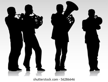 Vector drawing music jazz orchestra. Artists on stage