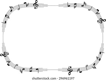 vector drawing music note with blank border