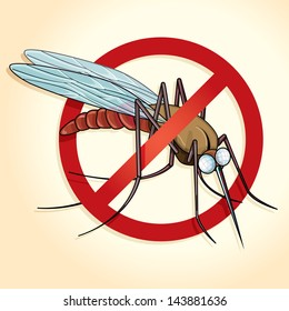 Vector drawing of a no mosquito sign/NO MOSQUITOS/Easy to edit vector files of a no mosquitos sign, mosquito visible under sign, easy to edit groups and objects, delete NO sign isolate mosquito,