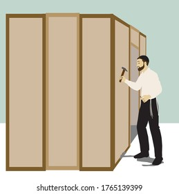 Vector drawing of observant Jew. Sukkah Builder. The figure holds a hammer and a nail. standing next to a wooden wall. The man has a beard, and a white shirt, a jewish headcover - kipah, and tzitzit