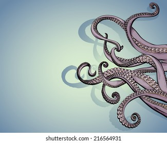 Vector drawing of/Tentacles with copy space/Easy to edit layers and groups, tentacles viewable under other tentacles for editing, gradients only used in the background layer.