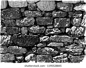 Vector drawing of an old brick wall