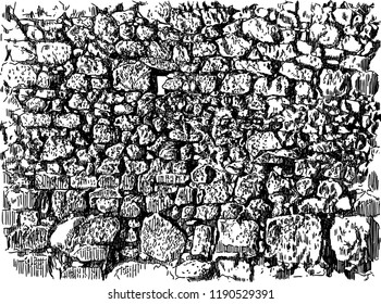 Vector drawing of an old cobblestone wall