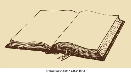 Vector drawing. Old open book with a bookmark