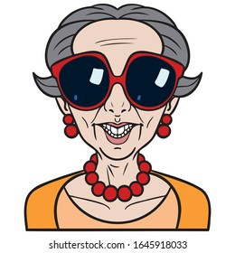 Vector drawing of an old woman with big sunglasses who laughs and shows her teeth. orange sweater, red chain and red earrings. gray hair, short hair, illustration, comic, funny.