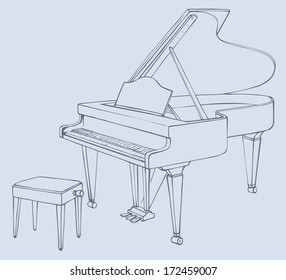 Vector drawing of an open grand piano and stool for a musician