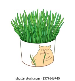 Vector drawing of outline fresh green cat grass for cats and domestic pets in round flowerpot isolated on white background. Contour cat grass for cute domestic animal design.