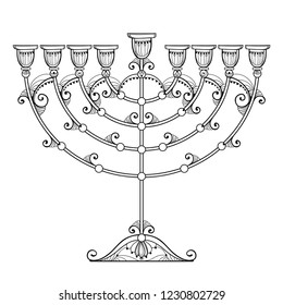 Vector drawing of outline sHanukkah menorah or Chanukiah candelabrum in black isolated on white background. Ornate contour Chanukah menorah for Jewish holiday design and coloring book.