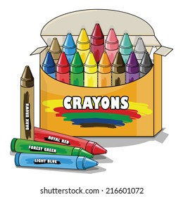 Vector drawing of a pack of Crayons/Crayons/Easy to edit objects and groups, rest of crayons editable and visible inside of box,