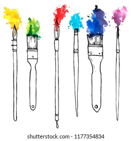 vector drawing paintbrushes with color paint, hand drawn illustration