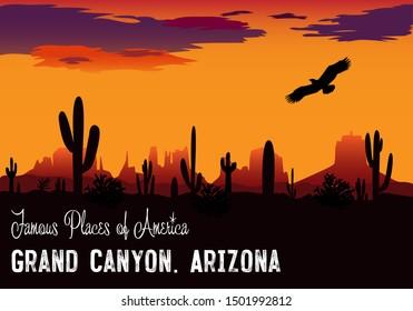 Vector drawing. Panama Grand Canyon. Evening sky with a soaring eagle. Arizona