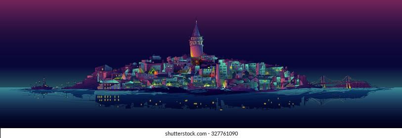 vector drawing panoramic galata tower view istanbul night