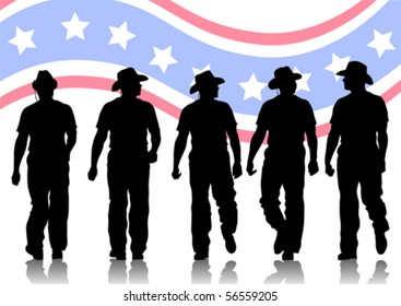 Vector drawing of people in cowboy hats. Silhouettes on white background