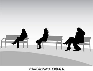 Vector drawing of people on park benches