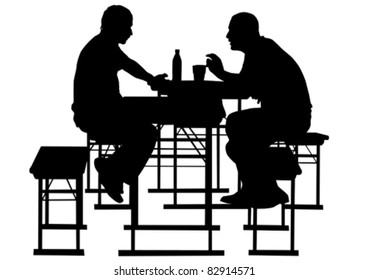 Vector drawing people to table in cafe