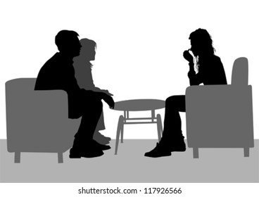 Vector drawing of people talking in their seats