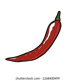 Vector drawing pepper spicy kitchen food