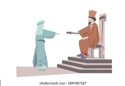 Vector drawing of the Persian king Ahasuerus extends the scepter to Queen Esther. One of the scenes in a scroll read by the Jews on Purim.