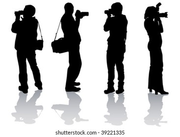 Vector drawing pictures from your camera. Silhouettes on white background