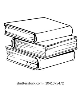 Vector drawing of a pile of three books