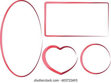 vector drawing pink border set