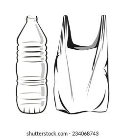 Vector drawing of a plastic a bag and bottle