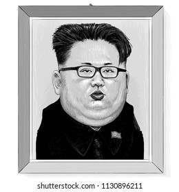 Vector drawing - portrait-cartoon of Kim Jong-un in a wooden frame hanging on a wall. North Korea  - July, 2018.