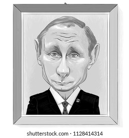 Vector drawing - portrait-cartoon of Vladimir Putin in a wooden frame hanging on a wall. Russia - July, 2018.
