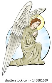 Vector drawing of a praying angel/Angel/Easy to edit vector drawing, easy to edit groups and layers, blends and meshes used