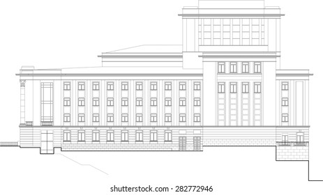 Vector drawing of public building. Elevation.