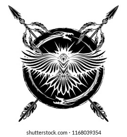 Vector drawing of a raven with open wings, dragons of the biting a tail and totemic arrows. Sacred sign of Vikings. Sacred geometry. Sacral symbol. Fantastic monster. Norman culture. Vector.