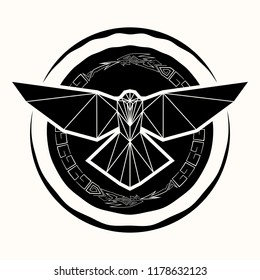 Vector drawing of a raven with open wings against the background of the dragons biting a tail. Sacred sign of Vikings. Sacred geometry. Sacral symbol. Fantastic monster. Totem. Norman culture. Vector