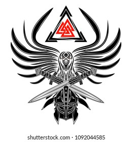 The vector drawing of a raven with the opened wings, a helmet of the Viking and two swords. Sacred sign of Vikings - three triangles. Sacral Celtic symbol. Norman culture. Trinity. Vector illustration
