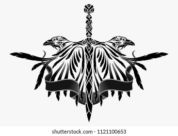 The vector drawing of a raven with the opened wings. Viking's sword. Sacral Celtic symbol. Norman culture. Black tribal tattoo. Vector illustration.