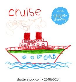 Vector drawing of real children. A ship at sea
