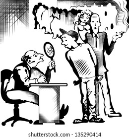 Vector drawing of recruitment to work in black and white