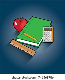 Vector drawing of red apple, green book, calculator and wooden ruler on blue background.