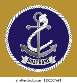 Vector drawing related to maritime. The wall table can be used as ornament, label, gift, boat decoration, icon, key ring, rosette, brooch.