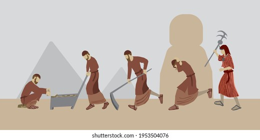 Vector drawing of religious Jewish figures, the children of Israel, working hard, making bricks from clay. An Egyptian stands and holds a beating stick. A scene from the enslavement of Israel in Egypt