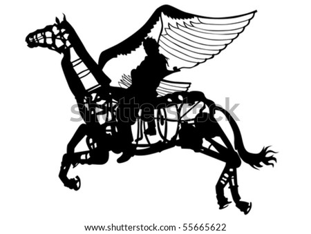 Vector Drawing Rider On Winged Horse Stock Vector Royalty Free