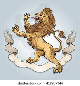 Vector drawing of a / Royal Lion / Easy to edit groups and layers gradient used on background layer. Easy to isolate objects and layers for multiple uses