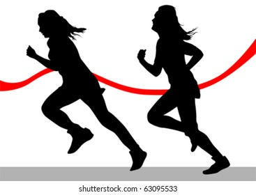 Vector drawing running athletes. Silhouettes on white background