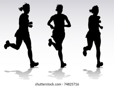 Vector drawing running athletes. Silhouettes of people
