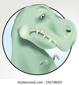 Vector Drawing of a Sad T-Rex with Little Arms/ Sad T Rex/ Easy to edit layers, Meshes and transparencies used, Easy to edit groups, rest of T Rex available behind masked layer, Legs tail standing etc