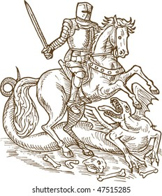 vector drawing of Saint George knight and the dragon done in black and white