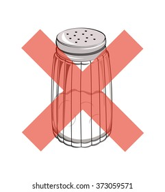 Vector drawing of a salt shaker with a red cross