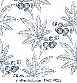 vector drawing seamless pattern with castor plant, ricinus plant ,hand drawn illustration