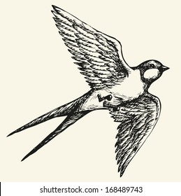 """Vector drawing of a series of monochrome sketches """"Birds"""". Swallows and martins are a group of passerine birds in the family Hirundinidae which are characterised by their adaptation to aerial feeding"""