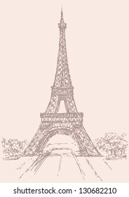 Vector drawing from a series of sketches of landmarks cities. The Eiffel Tower in Paris. France