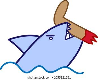 vector drawing, shark fom sea, angry shark, shark bite off leg, beware from the sea
